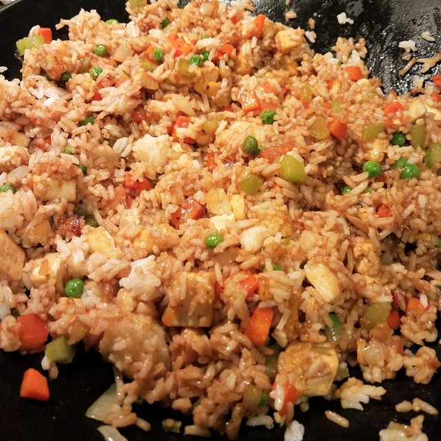 Vegan fried rice glistening with tasty goodness
